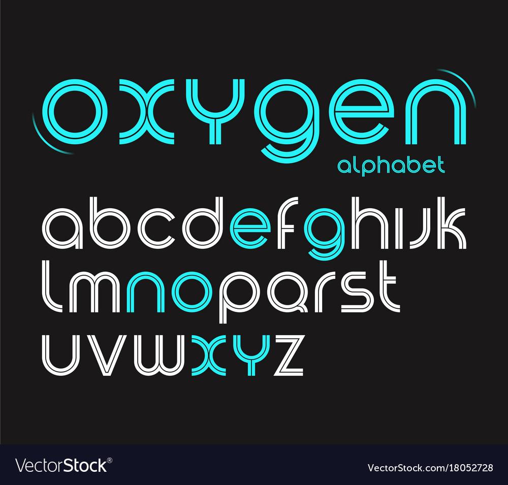 Round style minimalistic font alphabet