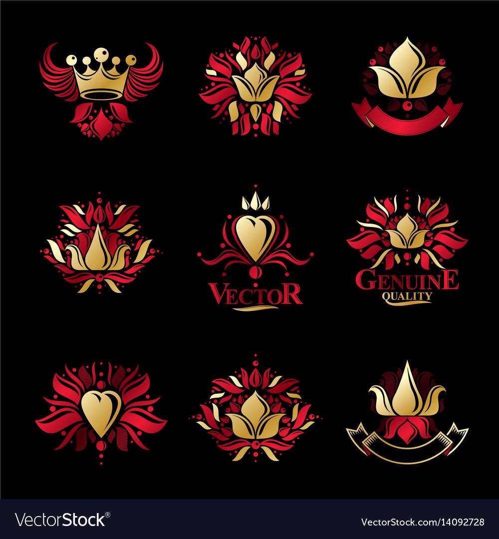 Royal symbols flowers floral and crowns emblems