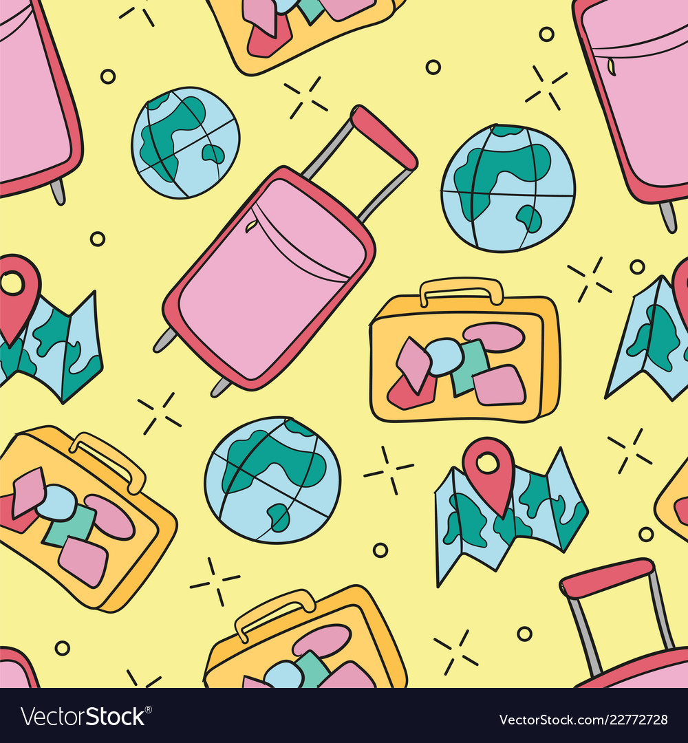 Seamless pattern with traveling things travel