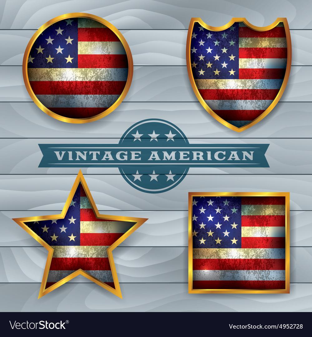 Vintage american flag badges and emblems