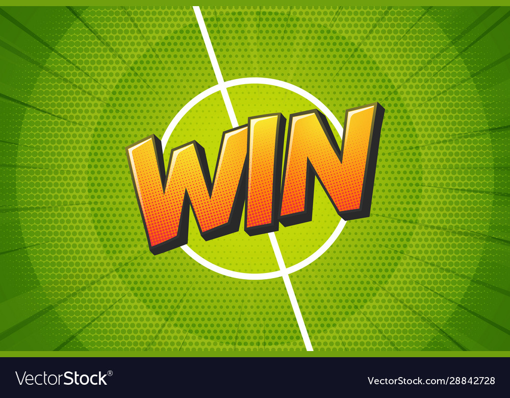 Win sign on football field background soccer