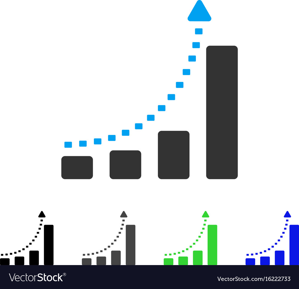 Bar chart positive trend flat icon