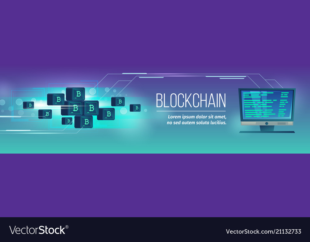 Blockchain poster banner with bitcoins