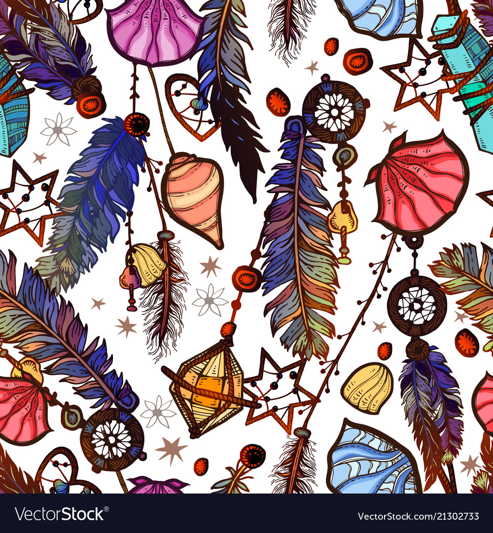 Ethnic feather seamless pattern in boho style