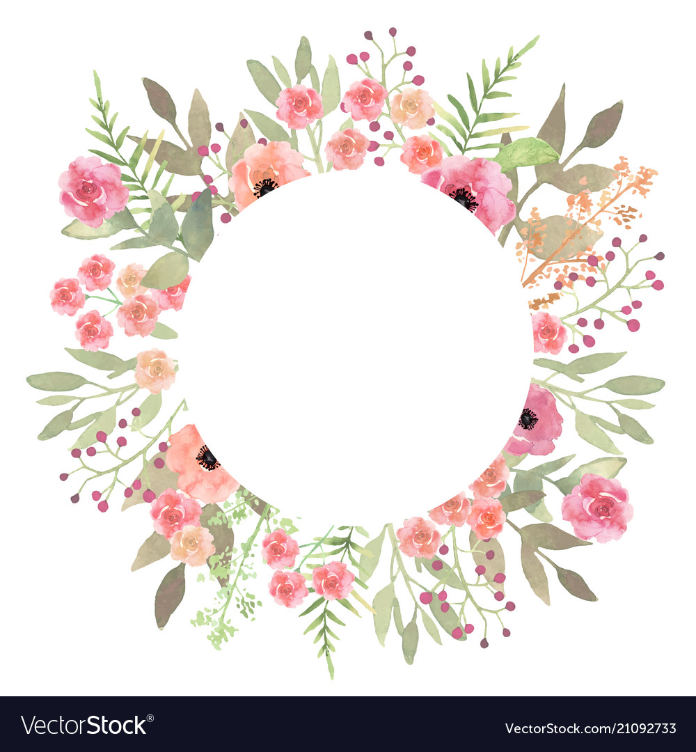 flowers frame circle roses card on white backdrop vector image flower border clipart for silhouette flower border clip art black and white