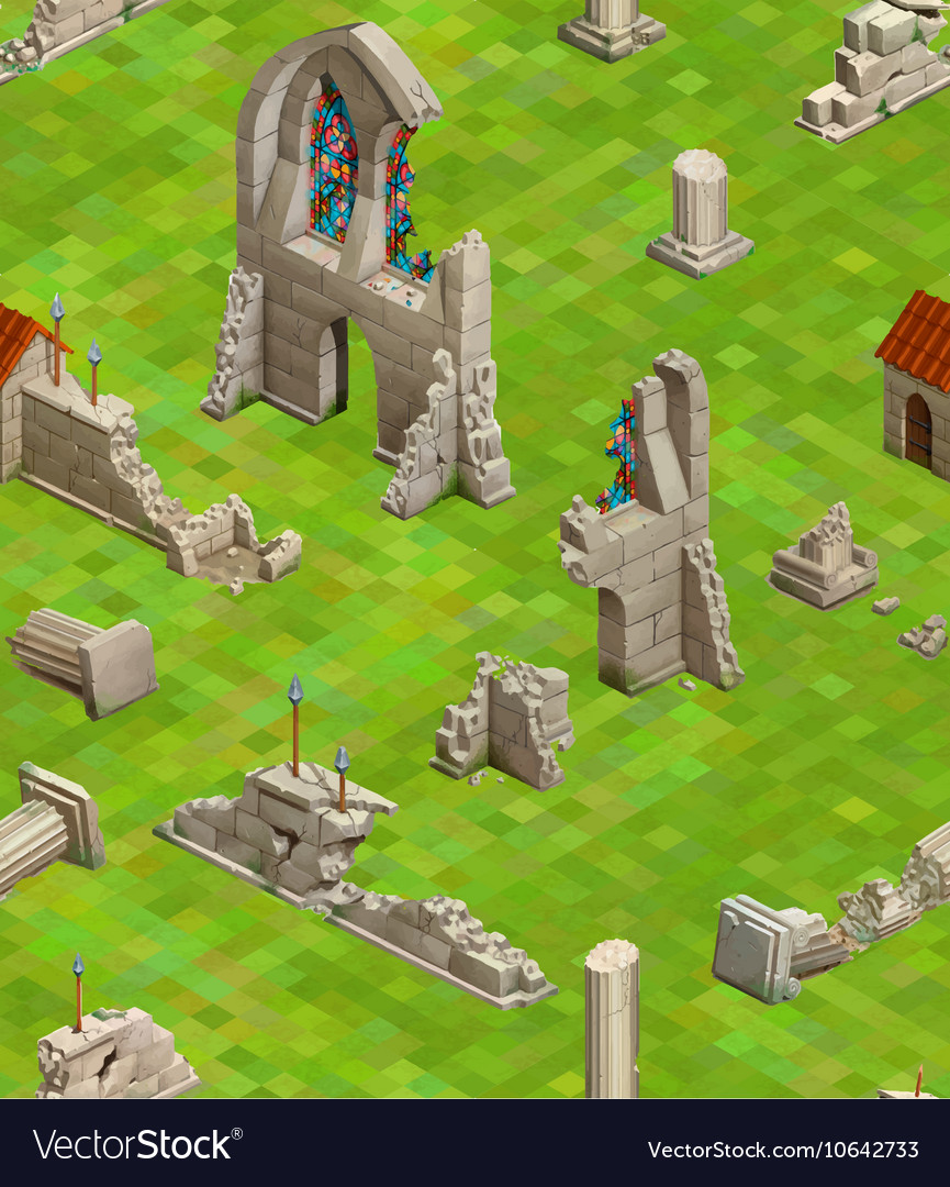 Medieval buildings on green grass isometric