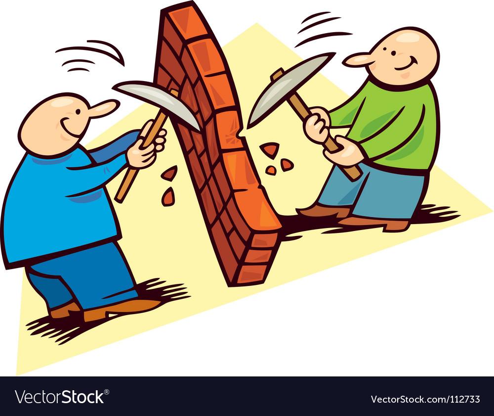 Men breaking the wall vector image