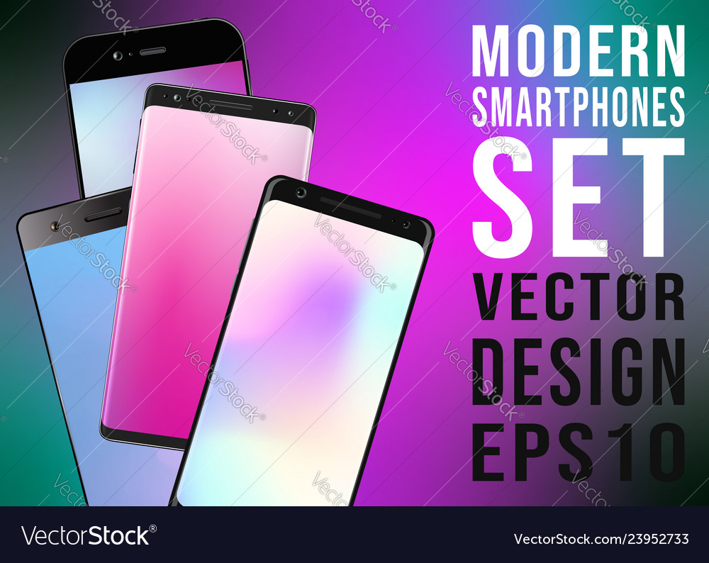 Modern smartphones with colorful gradient