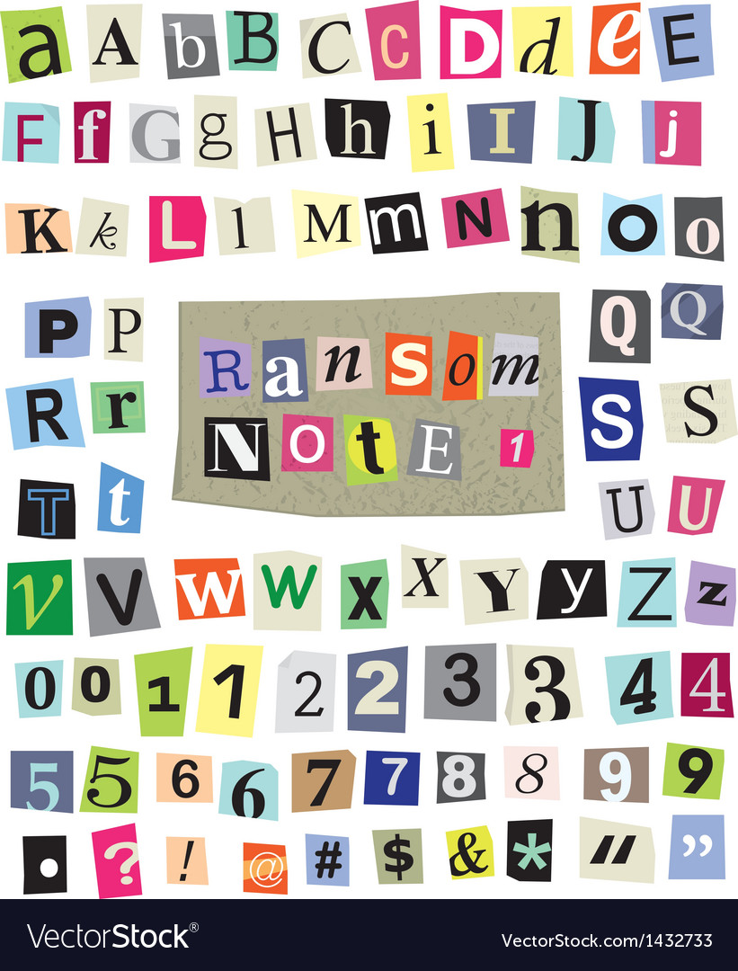 Ransom note 1 cut paper letters numbers vector image spiritdancerdesigns Image collections