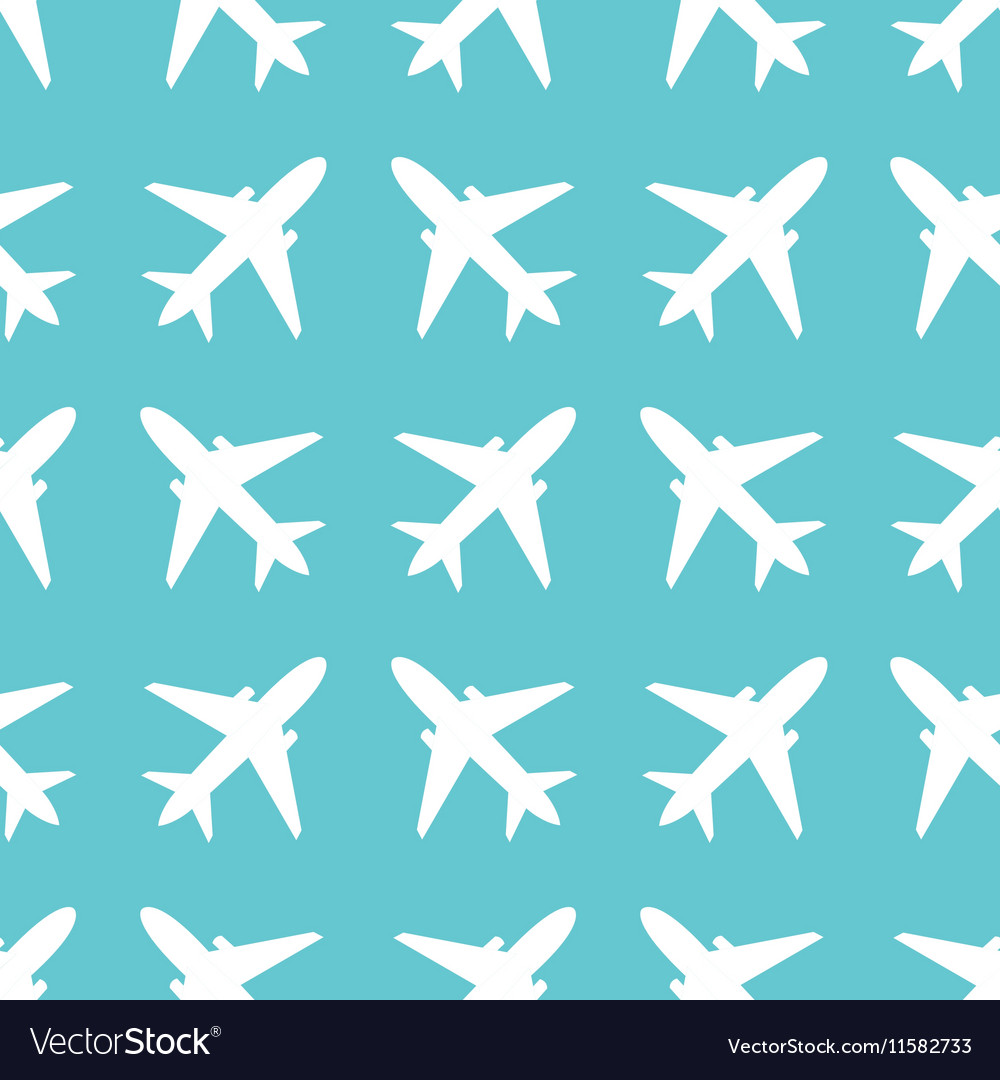 Seamless pattern with airplanes silhouettes