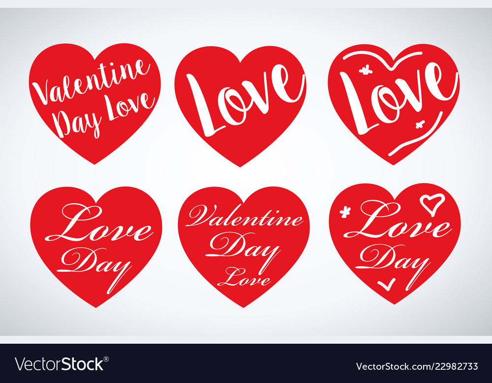 Set valentines hearts