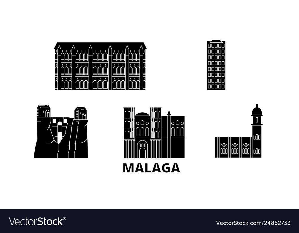 Spain malaga flat travel skyline set spain