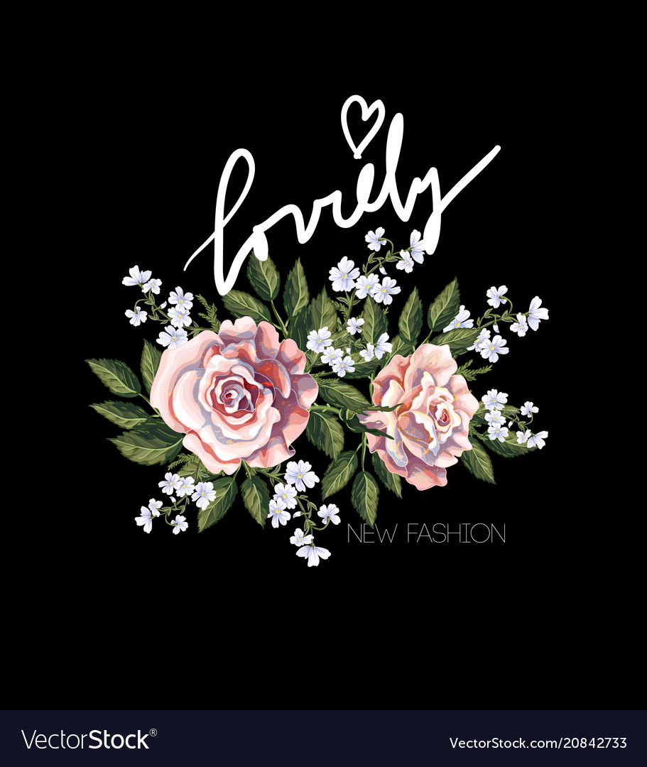 Typographical print for t-shirt with pink roses