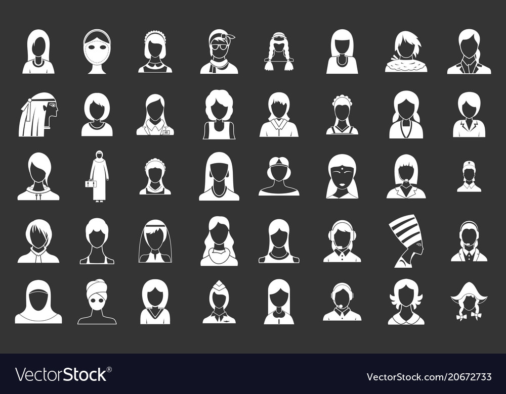 Woman silhouette icon set grey vector image