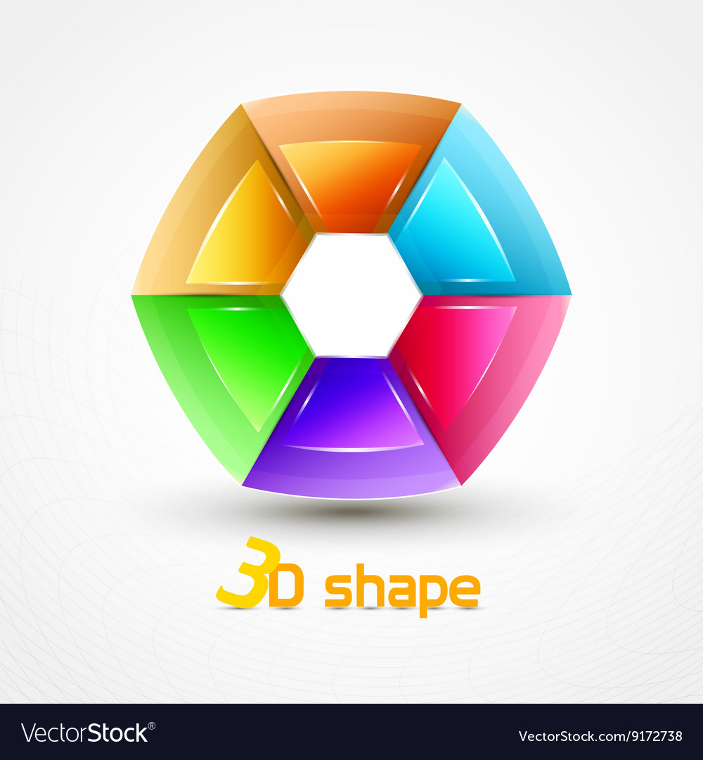 3d Shape Abstract icon vector image