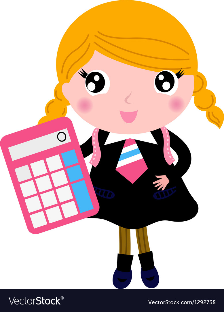 Beautiful blond school girl with calculator
