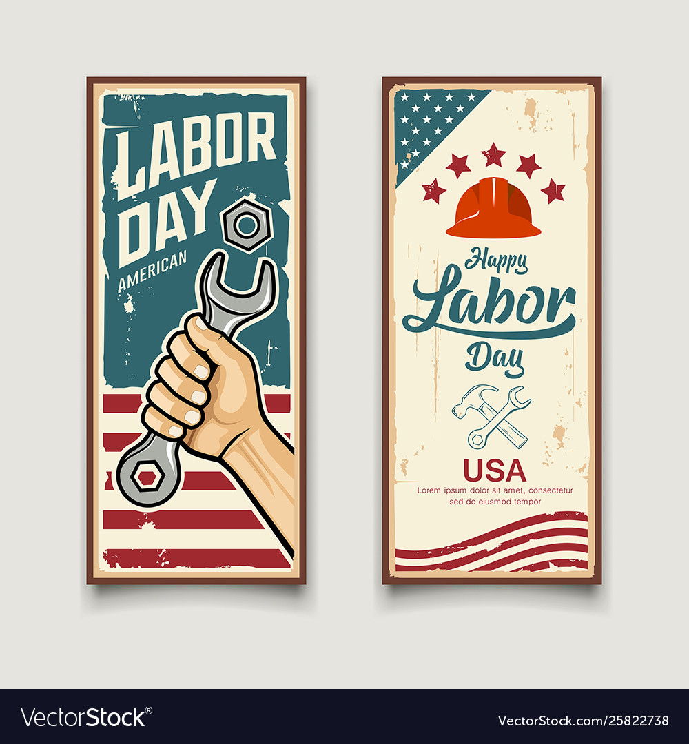 Happy labor day america flag wrench in hand