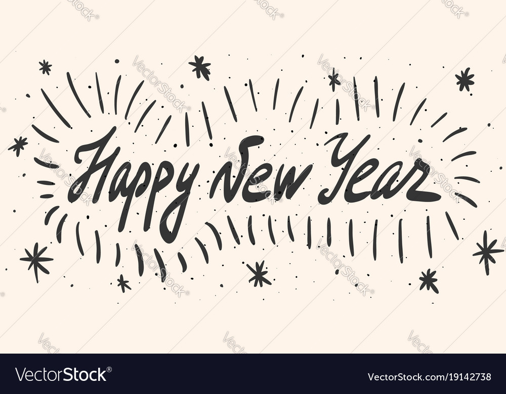 Happy new year calligraphy phrase with dots lines Vector Image