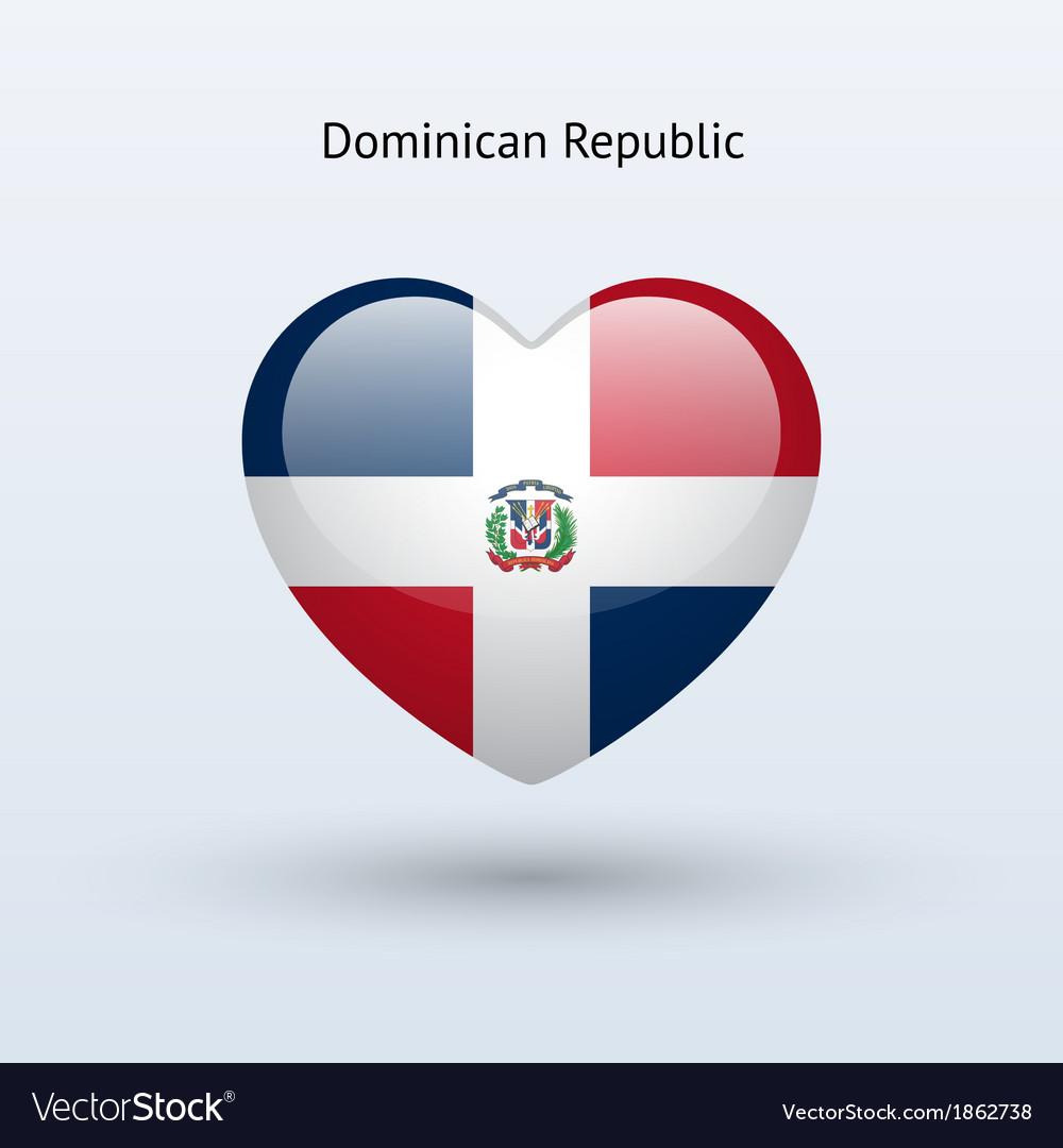 Love Dominican Republic Symbol Heart Flag Icon Vector Image