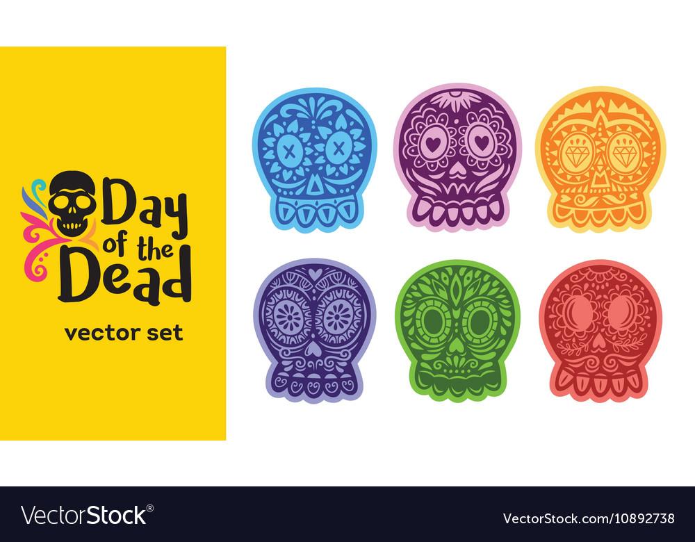 Mexican sugar skull dia de los muertos set