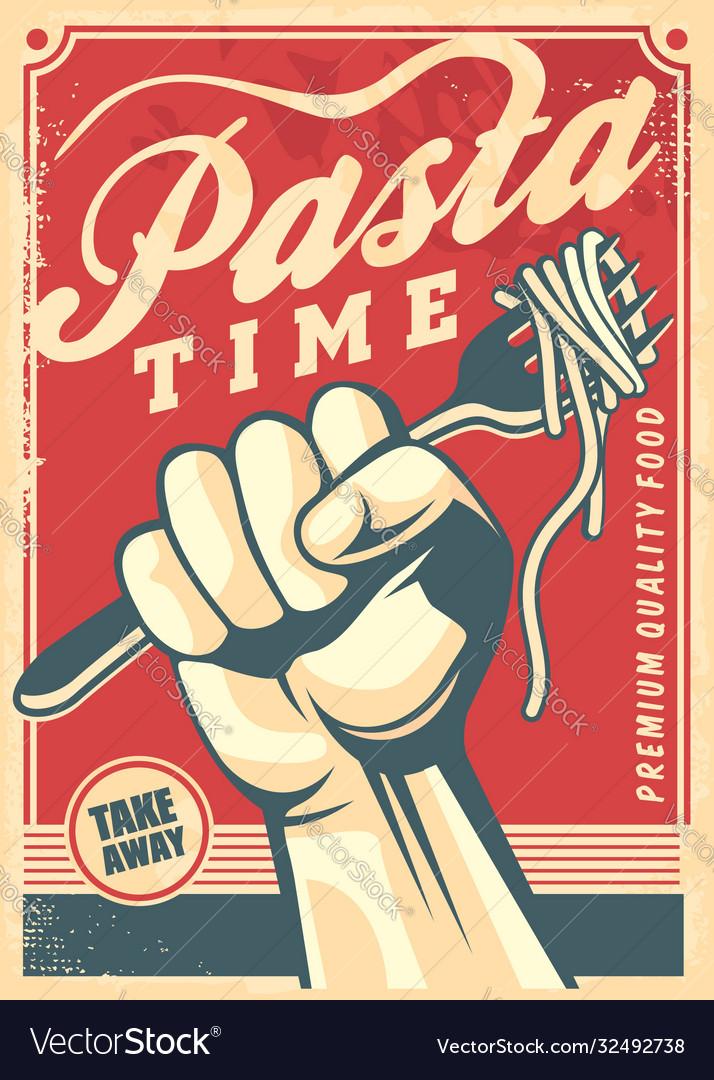 Pasta design poster in retro style