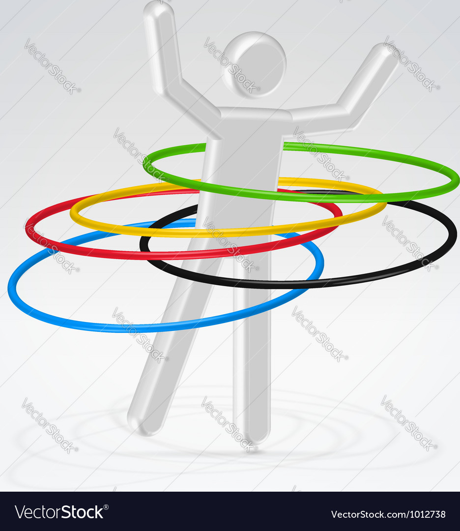 Person rotating rings vector image