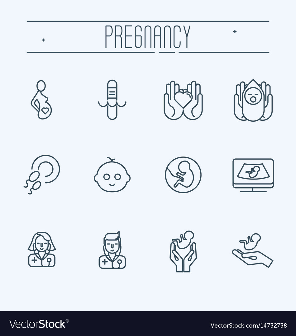 Pregnancy obstetrics gynecology thin line icons vector image