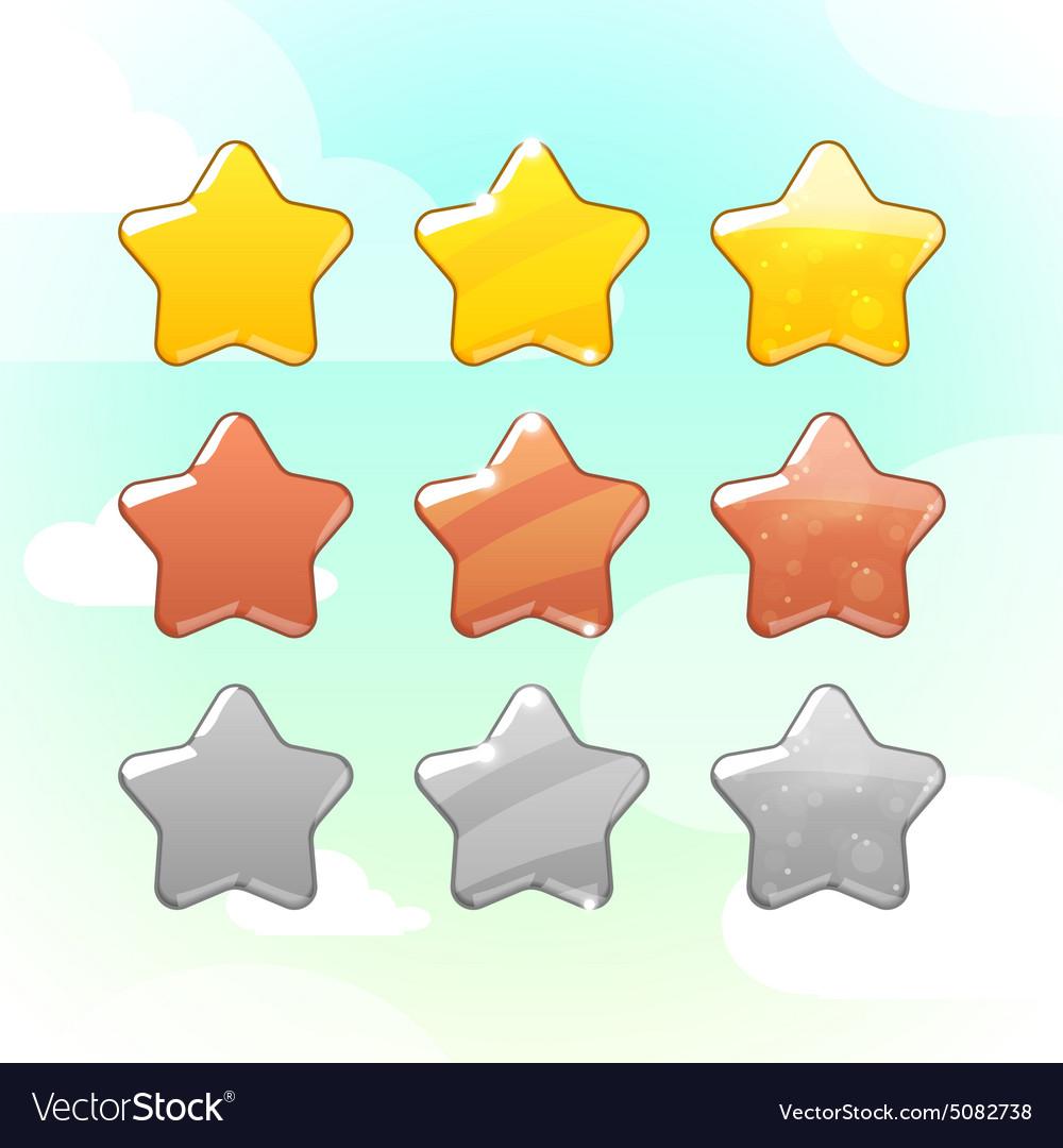 Set golden silver and bronze stars gui