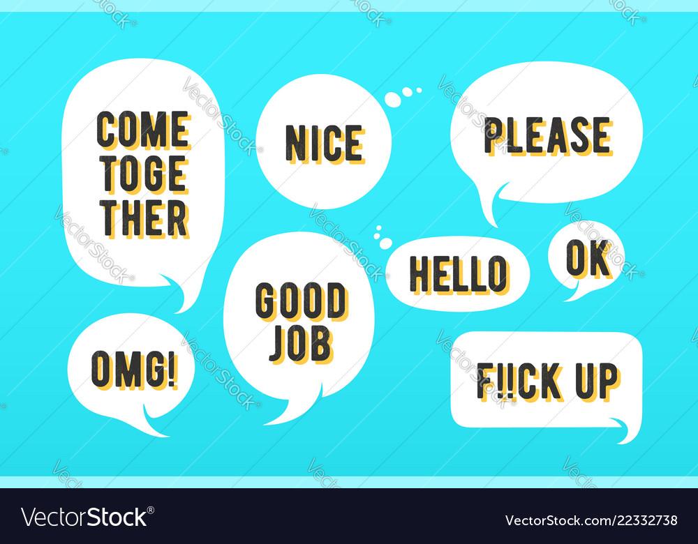 Speech bubbles set message cloud talk