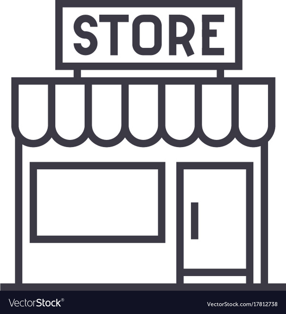 Store sign line icon sign on