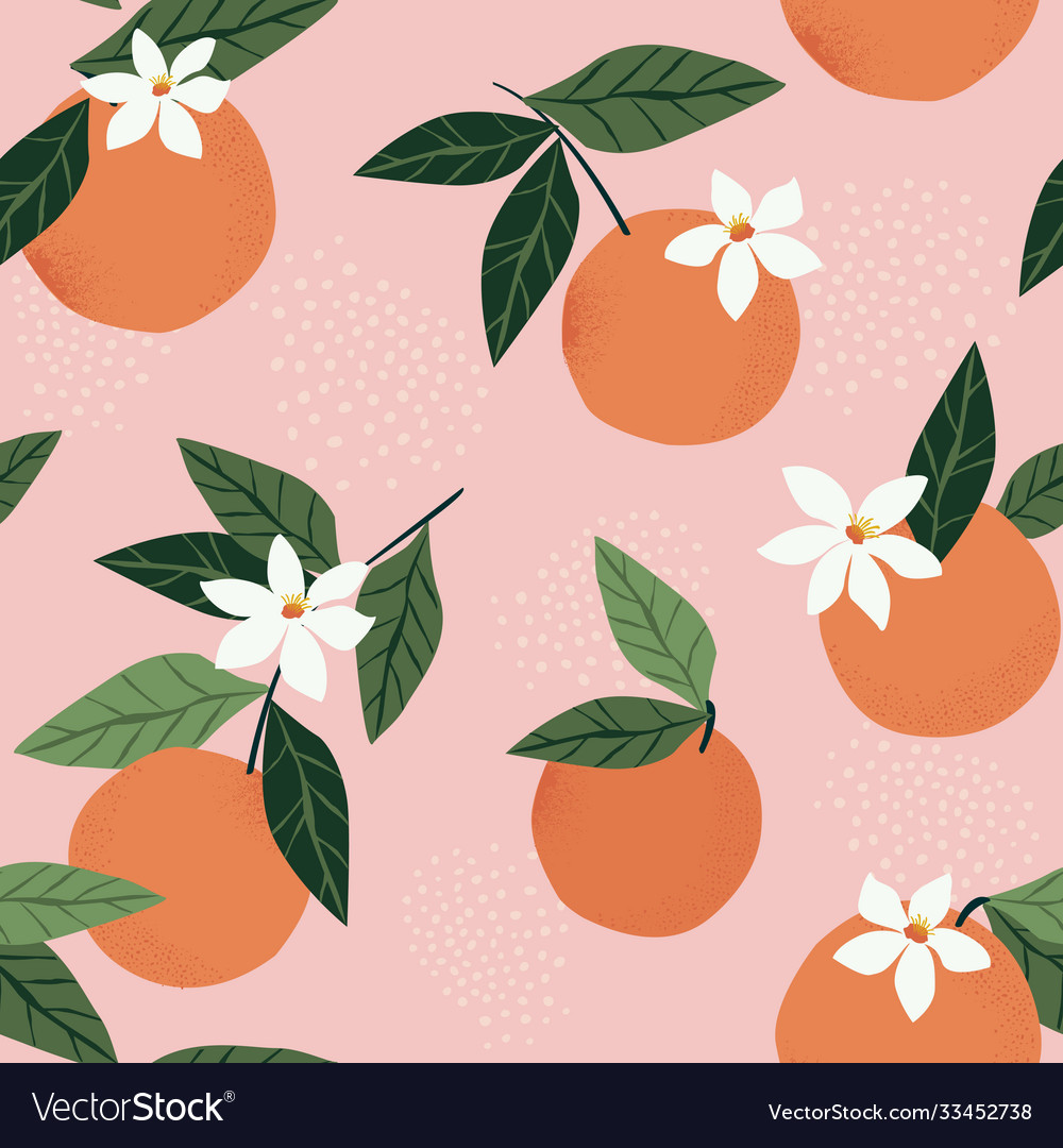Tropical seamless pattern with oranges on a pink vector