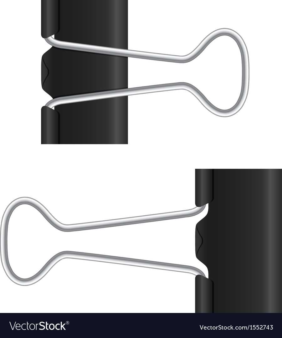 binder clip black paper clip isolated metal icon vector image