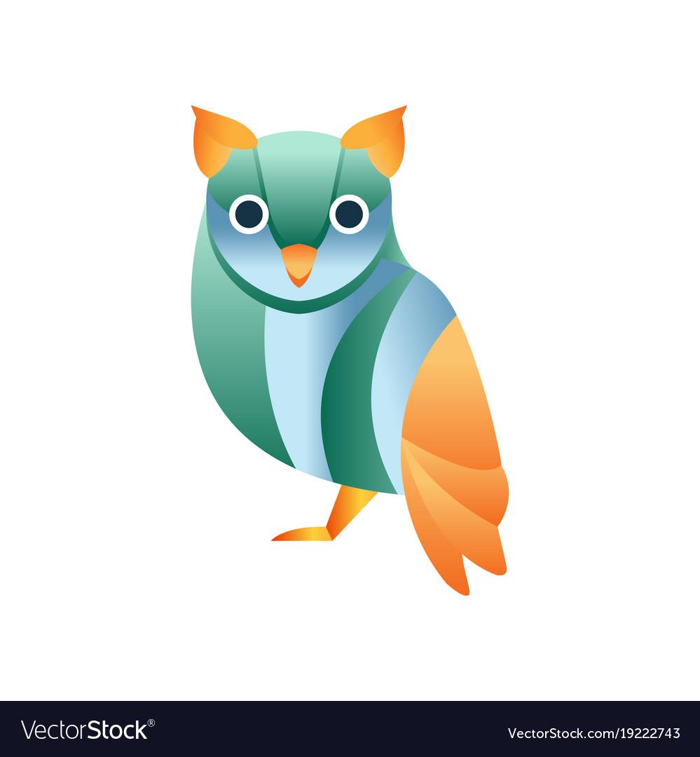 Cute owl bird stylized geometric animal low poly