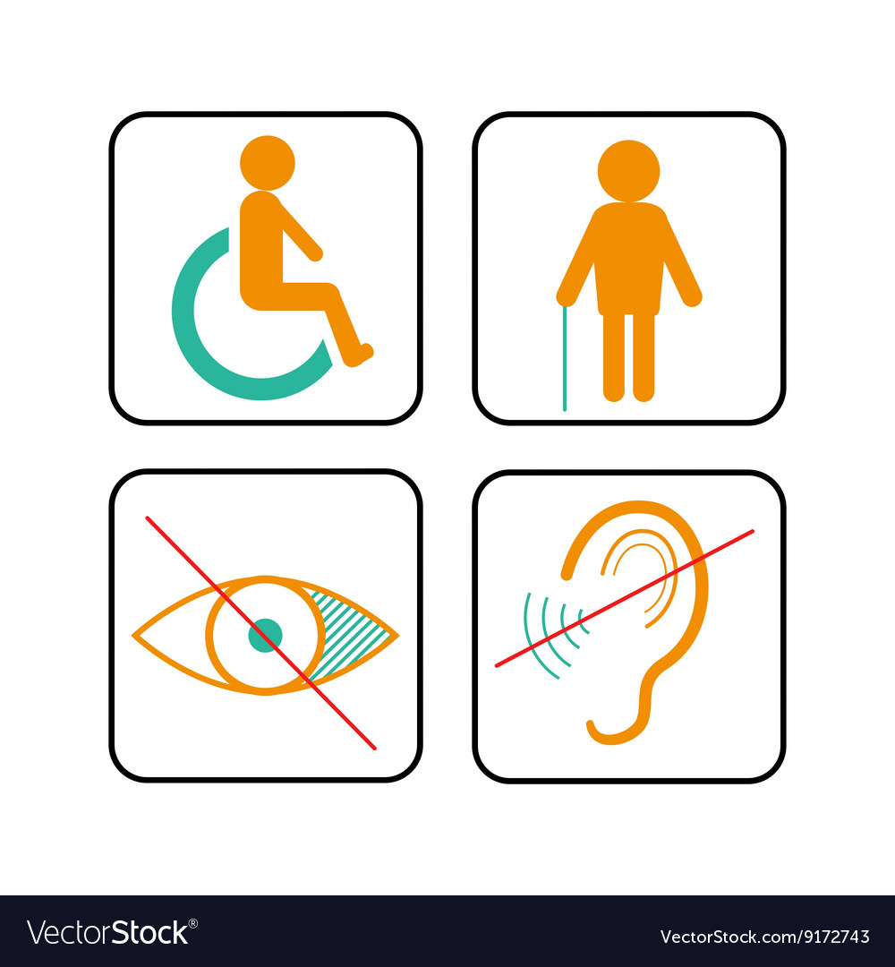Disabled signs deaf blind and wheelchair