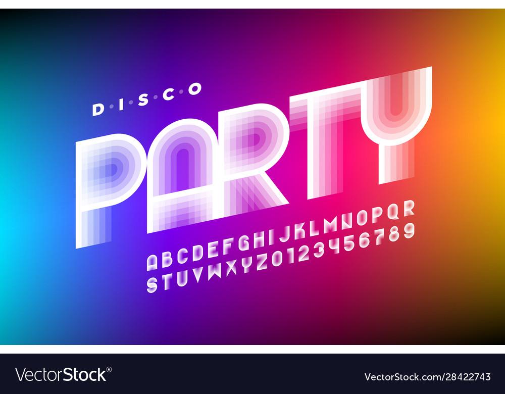 Disco party 80s style font design retro alphabet