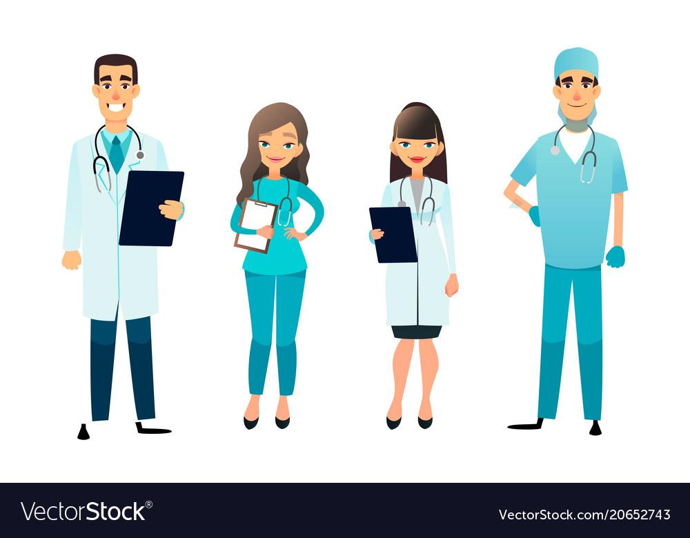 Doctors and nurses team cartoon medical staff