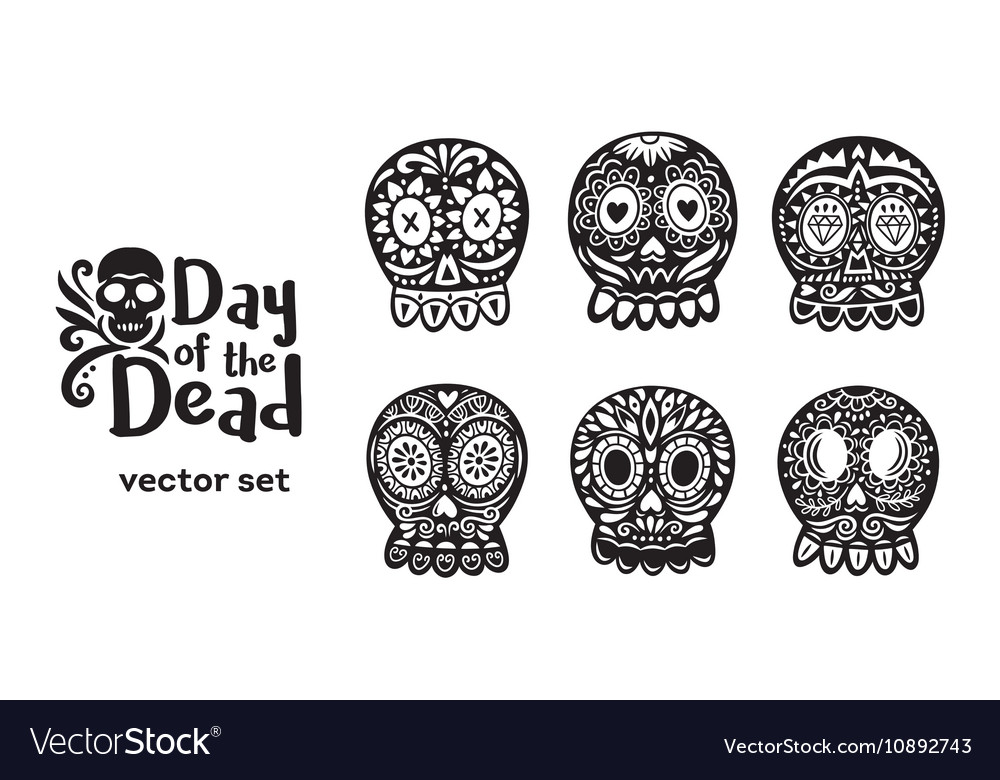 Mexican sugar skull collection in black and white