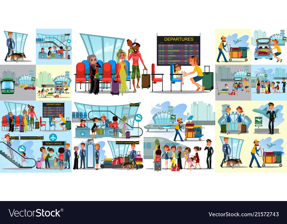 People in airport flat color icons set of pilot