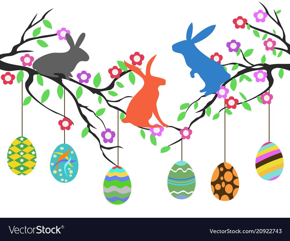 Rabbits on easter eggs tree