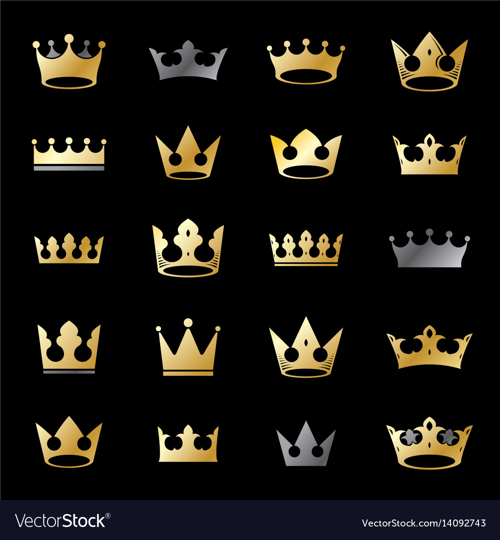 Royal crowns ancient emblems elements set