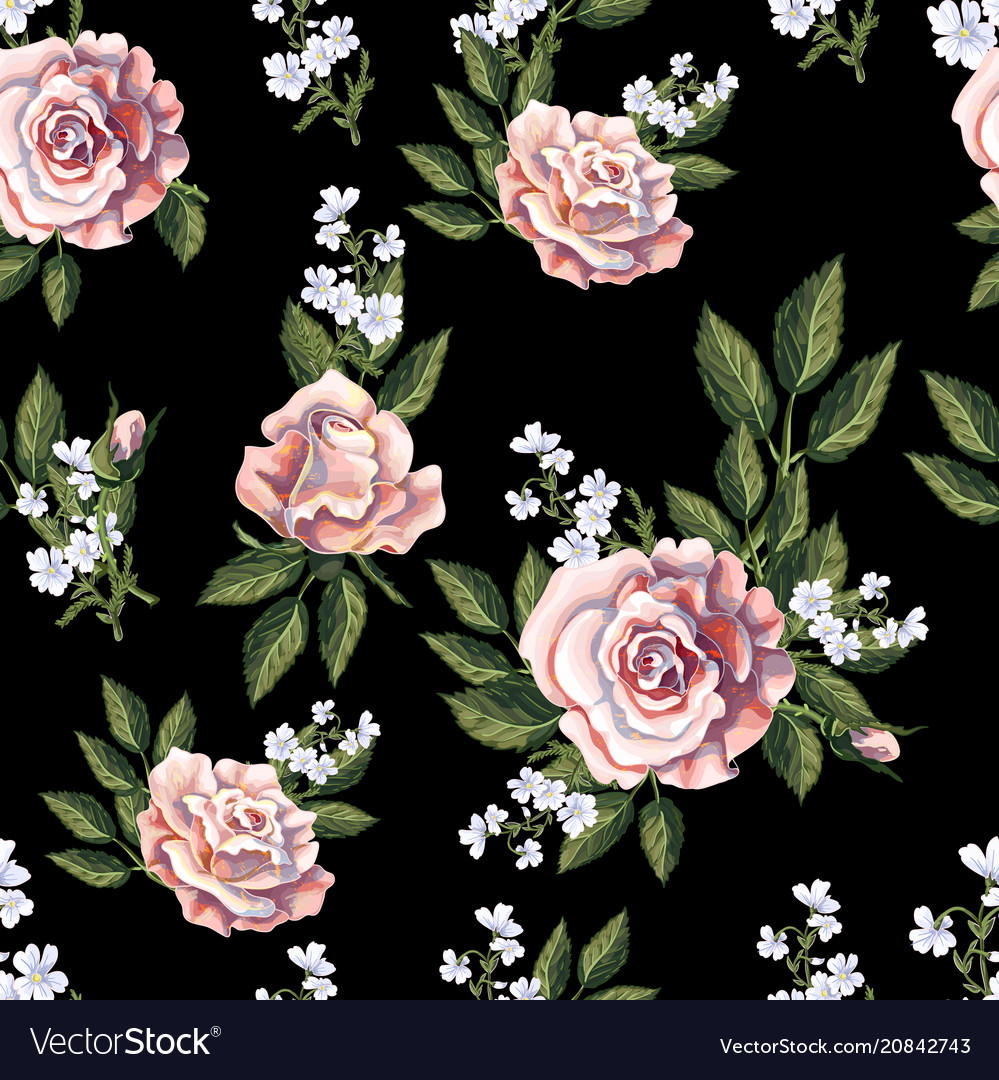 Seamless pattern with tea roses bouquet