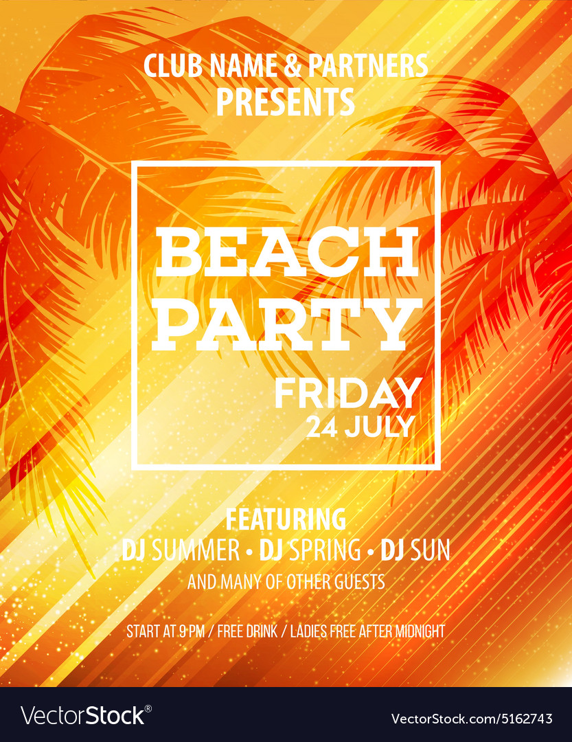 Summer Beach Party Flyer Template Royalty Free Vector Image