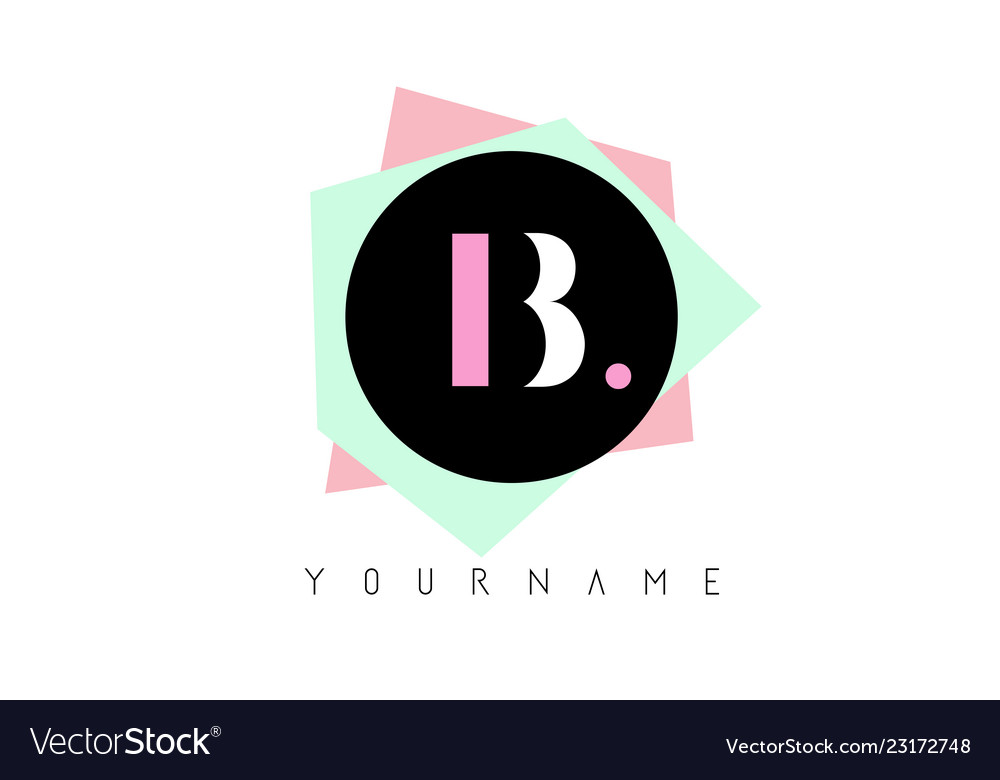 B geometric shapes logo design with pastel colors