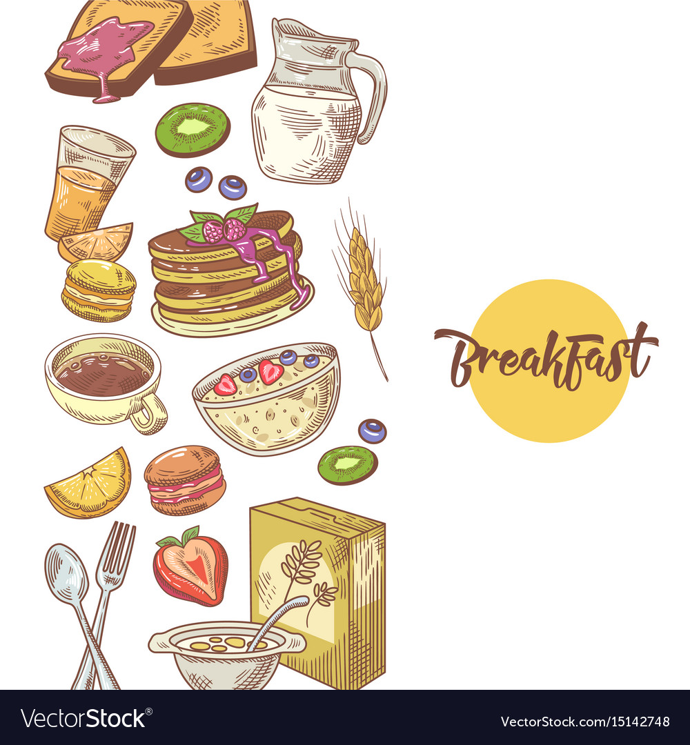 Healthy breakfast hand drawn design with bakery