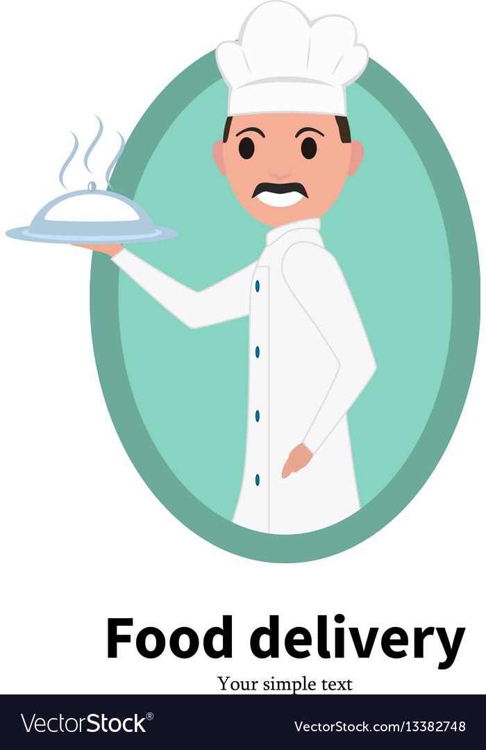 Icon cartoon portrait male chef cook vector image