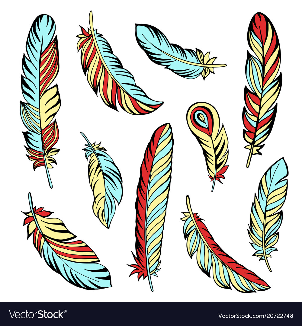 Indian feather set hand drawn