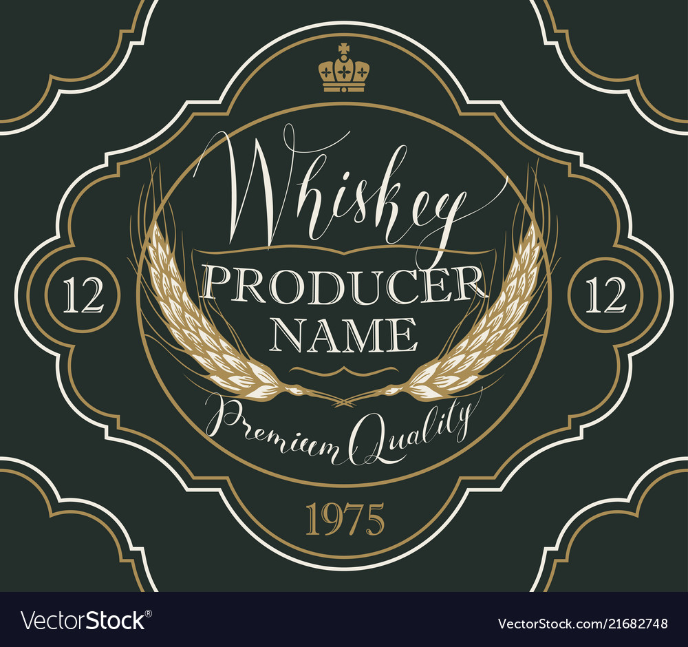 Label for whiskey with ears of barley