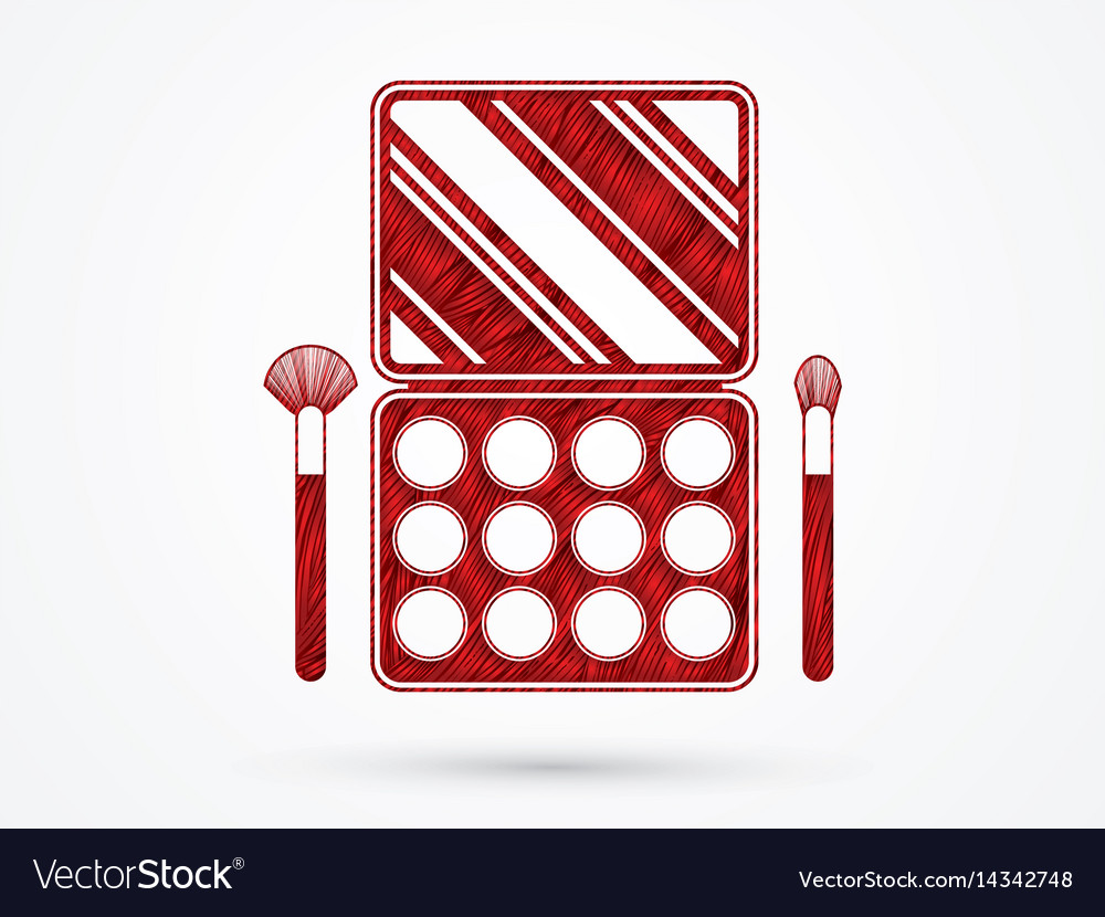 Make up colorful palette cosmetic graphic vector image
