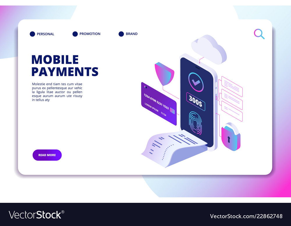 Mobile payments isometric concept online secure