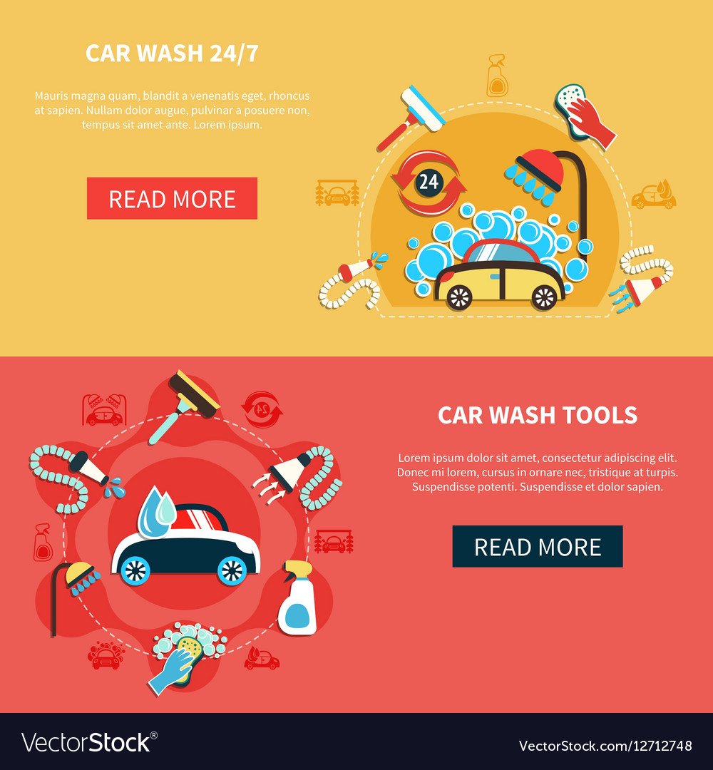 Overnight Car Wash Banners vector image